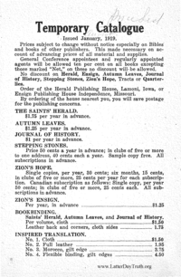 1919 January Temporary Catalogue Herald Publishing House, (PDF)