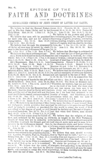 Epitome Of The Faith And Doctrines Of The Reorganized Church Of Jesus Christ Of Latter Day Saints No. 4 [Tracts By Numbers], n.d. [1882] (PDF)