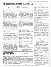 1954 Official Minutes Of General Conference [from The 1954 Saints' Herald Conference Daily Edition] (PDF)