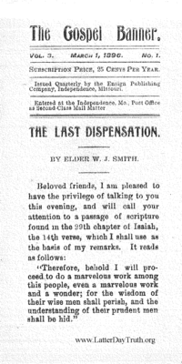 The Last Dispensation [The Gospel Banner vol. 3 no. 1], 1896 (PDF)