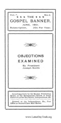 Objections Examined [The Gospel Banner vol. 8 no. 2], 1901 (PDF)