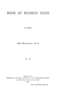 Book Of Mormon Talks [Birth Offering Series no. 4], 1908 (PDF)