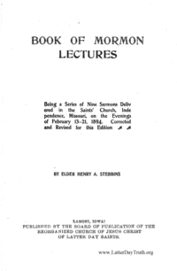 Book Of Mormon Lectures, 1901 (PDF)