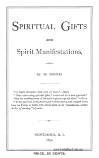 Spiritual Gifts And Spirit Manifestations, 1890 (PDF)