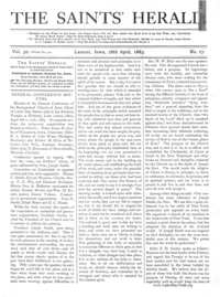 1883 General Conference Minutes [from The Saints' Herald vol. 30 pages 257-270 & 279-287], (PDF)