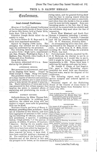 1872 Semi-Annual General Conference Minutes [from The True Latter Day Saints' Herald vol. 19 pages 666-670], (PDF)