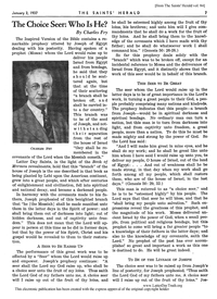 The Choice Seer: Who Is He? [from The Saints' Herald vol. 84], 1937 (PDF)