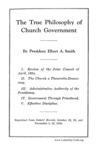 True Philosophy In Church Government, 1924 (PDF)